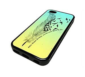 Apple iphone 4s 5 C Case Cover Skin Broken Wings Quote DESIGN BLACK RUBBER SILICONE Teen Gift Vintage Hipster Fashion Design Art Print Cell Phone Accessories