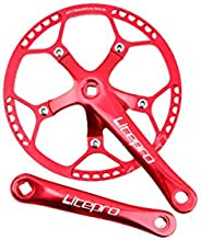 Keynis Folding Bicycle Crankset 45t 47t 53t 56t 58t 130BCD 6/7/8 Speed Aluminum Alloy Chain Wheel Crank Integr