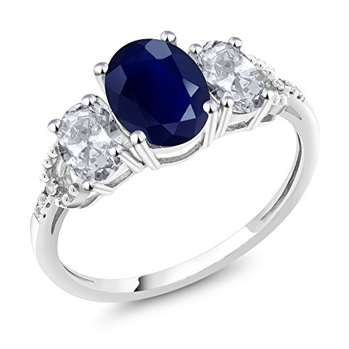 10K White Gold Diamond Accent Three-Stone Engagement Ring set with 2.84 Ct Oval Blue Sapphire White Topaz (Ring Size 7) by Gem Stone King