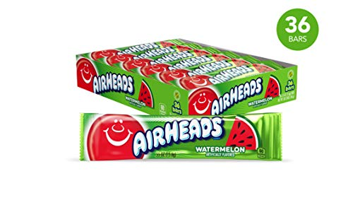 Airheads Candy, Individually Wrapped Bars, Watermelon, Non Melting, Party, 0.55 Ounce (Pack of 36)]()