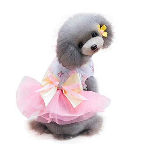 Dog Dress, Wakeu Pet Puppy Clothes Princess Tutu Skirt Vest Apparel for Small Dog Girl (Pink, S)