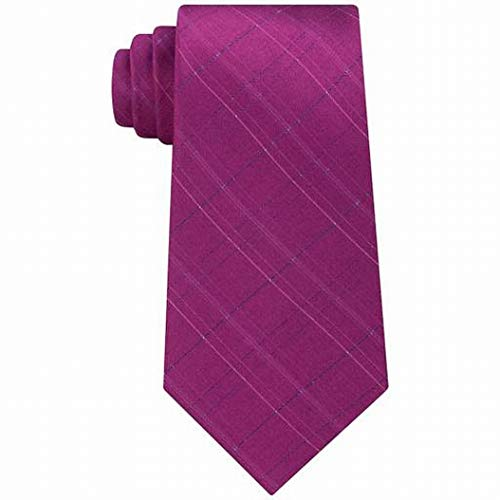 Calvin Klein Mens Debossed Grid Silk Printed Neck Tie Pink O/S