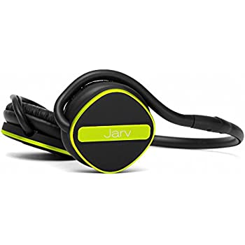 Jarv Joggerz PRO Sports Bluetooth Headphones with Built-In Microphone , Secure Neckband Design - 20 Hours of Run Time - Black/Green