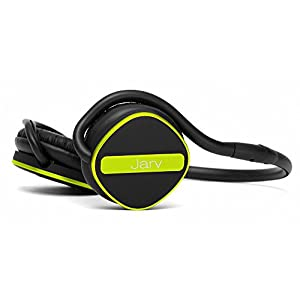 Jarv Joggerz PRO Sports Bluetooth Headphones with Built-in Microphone, Secure Neckband Design – 20 Hours of Run Time – Black/Green