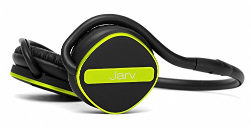 Jarv Joggerz PRO Sports Bluetooth Headphones with Built-In Microphone , Secure Neckband Design – 20 Hours of Run Time – Black/Green