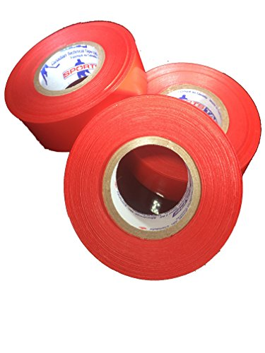 (Sports Tape 3 Pack Hockey Shin Guard and Soccer Shin Guard Tape Sock Tape (Red))