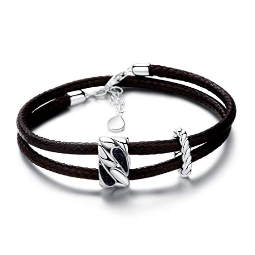 SA SILVERAGE 925 Sterling Silver Vintage Bracelets for Women Adjustable Leather Wrap Bracelets (Brown)