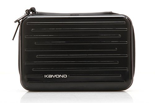 KAYOND Anti-Shock Silver Aluminium Carry Travel Protective Storage Case Bag for 2.5 Inch Portable External Hard Drive HDD USB 2.0/3.0 (Black)