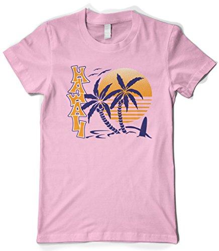 Cybertela Womens Hawaii Hawaiian Hi Sunrise Palm Tree T Shirt  Pink  X Large