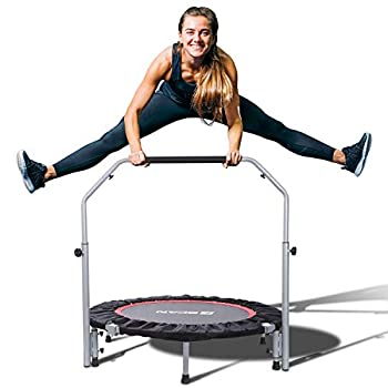 Image of BCAN 40' Foldable Mini Trampoline, Fitness Rebounder with Adjustable Foam Handle, Exercise Trampoline for Kids Adults Indoor/Garden Workout Max Load 330lbs Fitness Trampolines