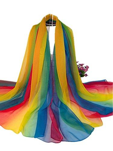Upper-L'estate sciarpa gradiente di colore lungo Chiffon sciarpa scialle sciarpe ladies telo da spiaggia 200*160 cm, Rainbow blue 160*200