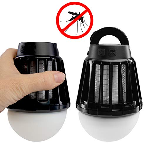 EZ Zap (2 Pack Mosquito Zapper 5W LED Lantern Rechargeable 3 Modes for Camping Travel Bug -