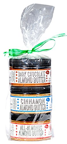Nutty Novelties Almond Butter Sampler Gift Pack - Classic, Cinnamon & Dark Chocolate Almond Butter - High Protein, Sweet Almond Butter - Cholesterol-Free Almond Butter - 15 Ounces, Pack of 3 (Cinnamon Gift)
