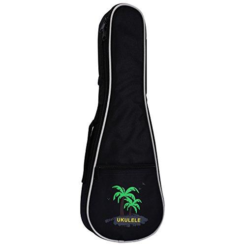 Coconut Ukulele - CAHAYA Ukulele Bag 23 inch Ukulele Case Oxford Fabric 0.28inch Thick Sponge Padded Adjustable Shoulder Strap with Coconut tree Pattern Style(Black )