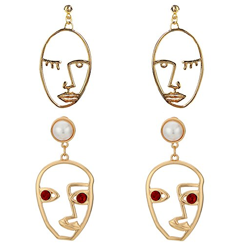 Human Face Dangle Earrings Drop Hoops Studs Cuffs Ear Wrap Pin Vine Pierced Dangling Hollow Out Charms Jewelry Golden Plated 2 Pair 1+3