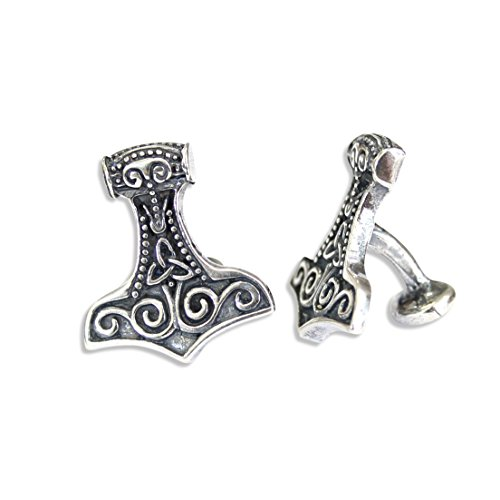 Silver Thor's Hammer Cufflinks - Silver Plated White Bronze Mjolnir Viking Cuff Links by Moon Raven Designs