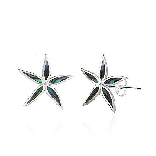 Sterling Silver Abalone Flower Stud Earrings