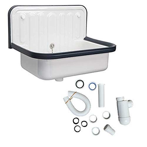 Alape Bucket Sink and Drain Bundle (Alape and Drain) Utility Sink with Overflow Assembly, Bottle Trap Drain, Navy Blue Trim, Glazed White Steel Finish