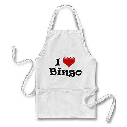Goodaily I Love Bingo Apron for Men Women with Pockets