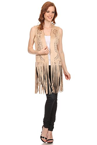 LL- Womens Beige Faux Suede Fringe Kimono Open Front Poncho Vest Resort Coverup (Crop Top Open Front)
