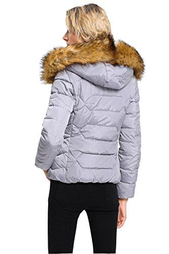 Rembourr Brinny Manche Fourrure Doudoune Chaud Hiver faux Femme Jacket Capuche Blouson Veste Hoodie Veste Fille Long Manteau Parka TvcZfnqTSx