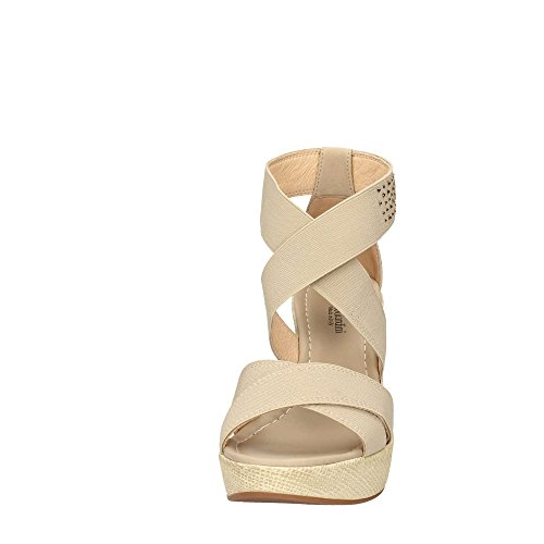 17640 BEIGE Scarpa donna sandalo zeppa Nero Giardini made in italy Sand
