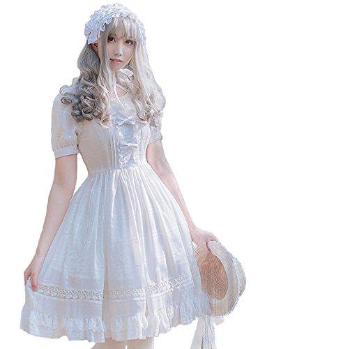 Smiling Angel Girls White Sweet Lolita Dress Princess Court Skirts Cosplay Costumes