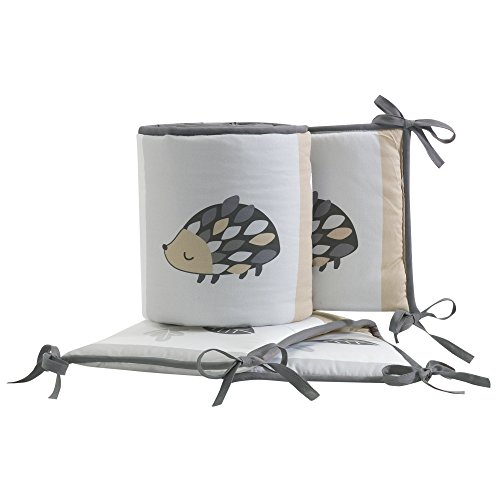 Bedtime Originals Little Rascals Forest Animals 4 Piece Crib Bumper, Gray/White