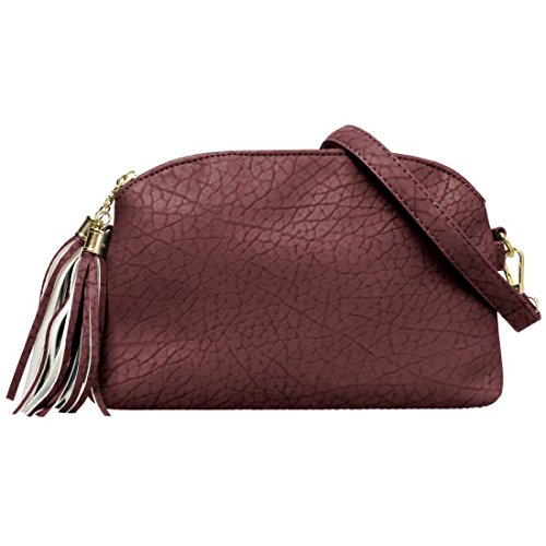 BMC Womens Dark Copper Textured Faux Leather Multi Compartment Tassel Zipper Fashion Clutch Handbag - Copper Womens Handbag