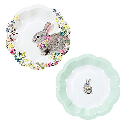 Floral Bunny - Talking Tables Truly Bunny Floral Rabbit Small Plates in Two Designs for an Easter Celebration or Childrens Party (24 Pack)