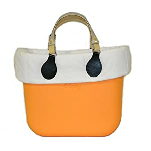 OBAG Borsa o Bag mini becco d'oca manici corti bicolor bordo piumino bianco 8
