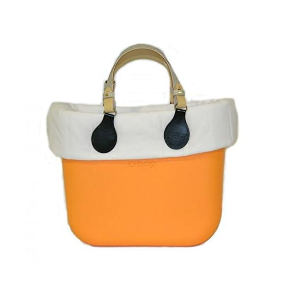 OBAG Borsa o Bag mini becco d'oca manici corti bicolor bordo piumino bianco 1