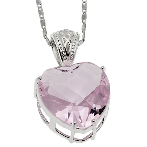Valentine's Gift Sterling Silver Heart Pendant Necklace Pink Topaz Birthstone Jewelry 18 inch (Pink)