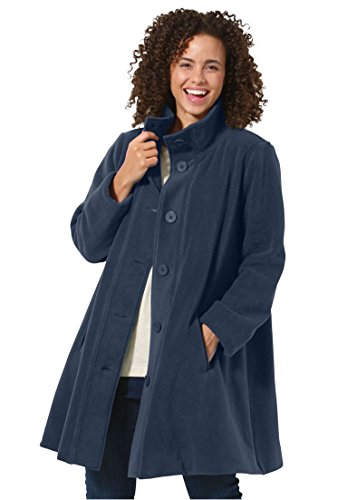 Women's Plus Size Cozy Fleece Swing Jacket Navy,4X