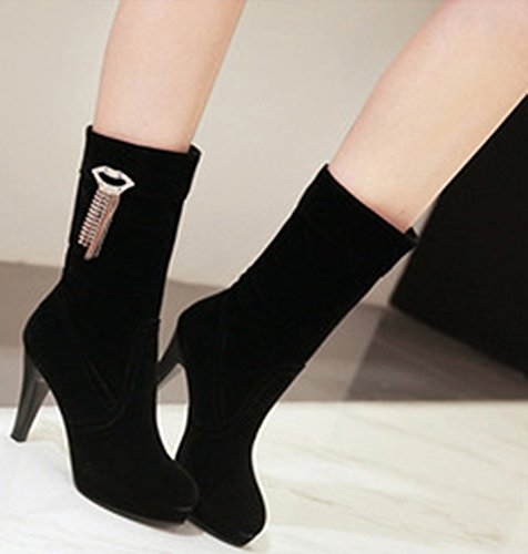 Black High Unique Platform Heel Pendant Toe Womens Booties Mid Stiletto Pointed IDIFU Calf With OEwxqpg6fg