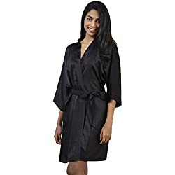 AWEI Satin Robe Short Kimono Birdesmaid Robes Women Bathrobe Soft Sleepwear Loungewear Spa Robe, Black L