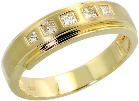 5mm Size 10 3//16 in. wide w// 0.04 Carat Brilliant Cut Diamonds Sterling Silver Mens Diamond Band