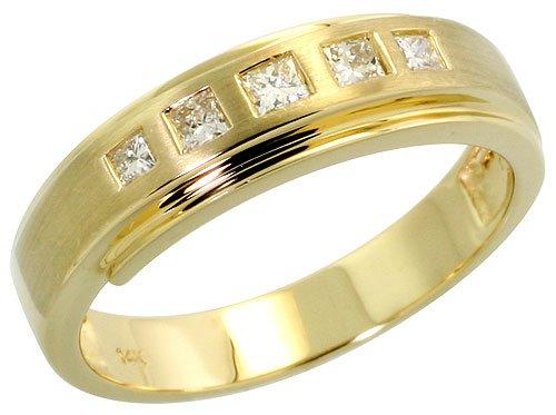 14k Gold Matte Center Men's Diamond Band, w/ 0.28 Carat Invisible Set Diamonds, 1/4