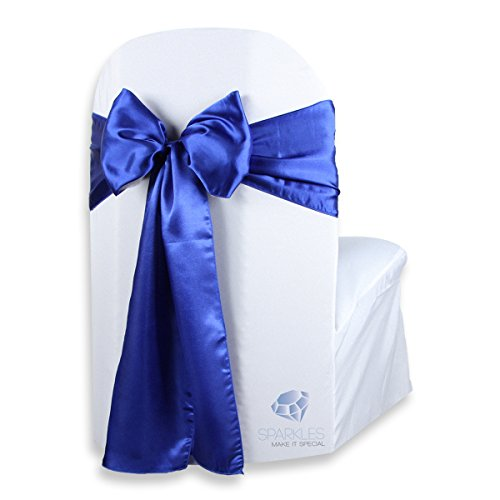 (Sparkles Make It Special 100 pcs Satin Chair Cover Bow Sash - Royal Blue - Wedding Party Banquet Reception - 28 Colors Available)