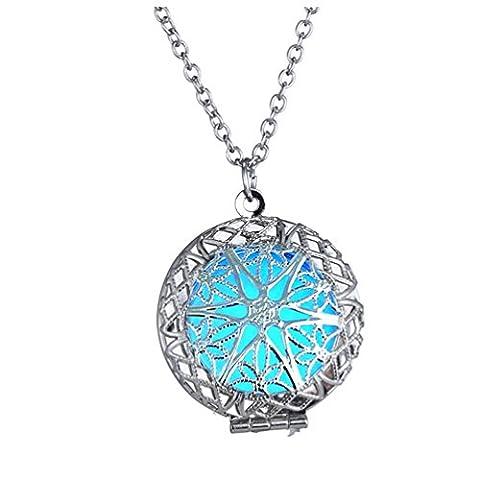 Winter's Secret Glow Hollow out Luminous Round Shape Pendant Open Alloy Necklace