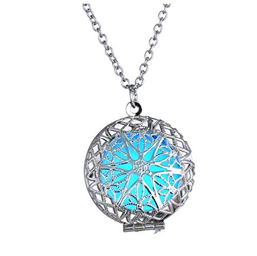 Price comparison product image Winter's Secret Glow Hollow out Luminous Round Shape Pendant Open Alloy Necklace