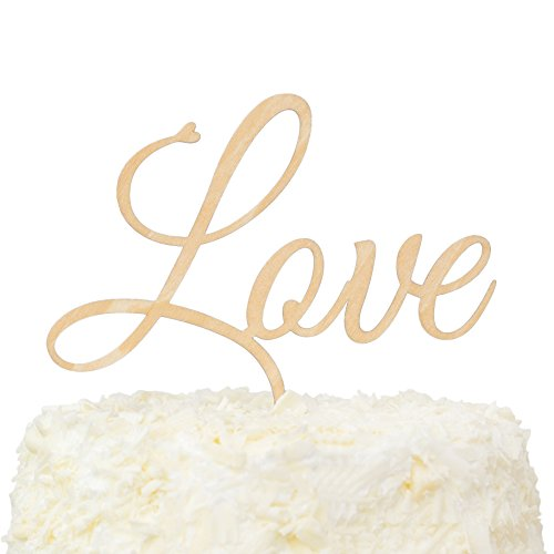- LOVENJOY with Gift Box LOVE Monogram Wedding Engagement Cake Topper Rustic Wood, 6.1-inch