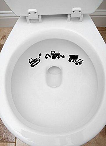 (Toilet Targets Construction Trucks Aim Practice 3 Piece Collection Vinyl Decal Sticker Application Kids Fun)