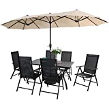PHI VILLA 7 Pcs Patio Dining Set and 13ft Large