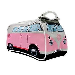 41Ejw3Cb8VL. SS300 VW Bulli Kulturbeutel rosa mit Innenfächern - robuste Kosmetiktasche, Waschbeutel, Kulturtasche, Washbag (31 x 15 x 11…