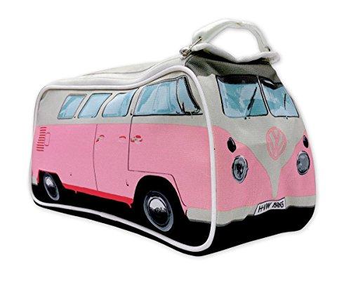 41Ejw3Cb8VL VW Bulli Kulturbeutel rosa mit Innenfächern - robuste Kosmetiktasche, Waschbeutel, Kulturtasche, Washbag (31 x 15 x 11…
