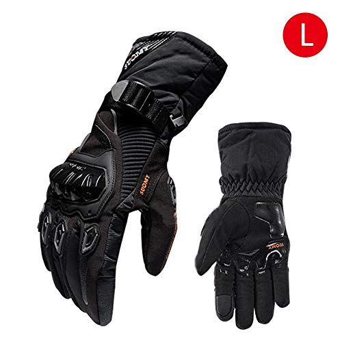 US-PopTrading Motorcycle Gloves Winter Warm Waterproof Motorbike Motocross Gloves Touch Screen Waterproof Windproof Protective for Riding Racing Cycling Hiking Skating Skiing and Other Outdoor