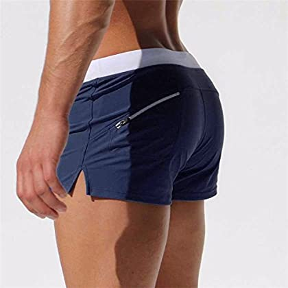 76306cd71a9f Men s Beach Swimming Trunks Boxer Brief Swimsuit Swim Underwear Boardshorts  with Pocket