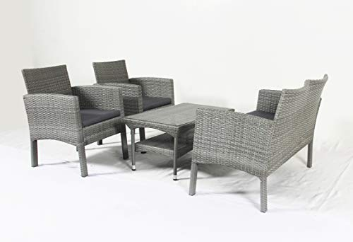 Made4Home Nicolas 4 Pieces Outdoor Patio Furniture Set Handwoven Rattan Chair Wicker Glass Table Top Outdoor Indoor Use Backyard Porch Garden Poolside Balcony (Discounted Furniture Sets Patio)