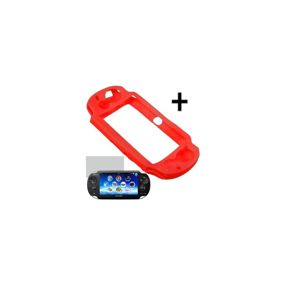 BW Silicone Sleeve Gel Cover Skin Case for Sony Playstation PS Vita + Fitted LCD Screen Protector  Red